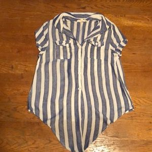 Navy and white striped, button down shirt